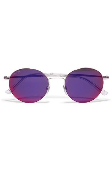 Gucci - Round-frame Gold-tone Mirrored Sunglasses - Purple