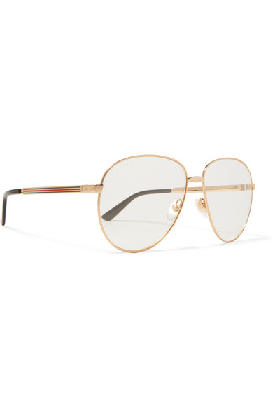 7a5053963d1 Gucci. Oversized aviator-style gold-tone optical glasses