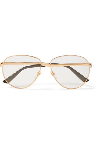 Gucci - Oversized Aviator-style Gold-tone Optical Glasses