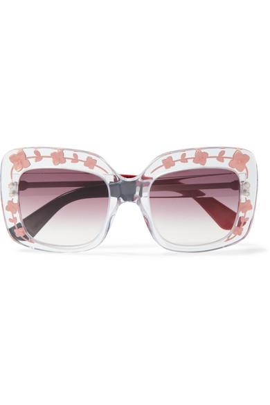 Gucci - Square-frame Acetate Sunglasses - Pink