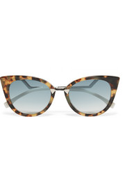 Fendi Cat-eye acetate and silver-tone sunglasses