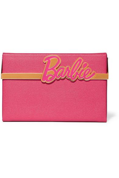 charlotte olympia female charlotte olympia barbiereg vanina texturedleather box clutch pink