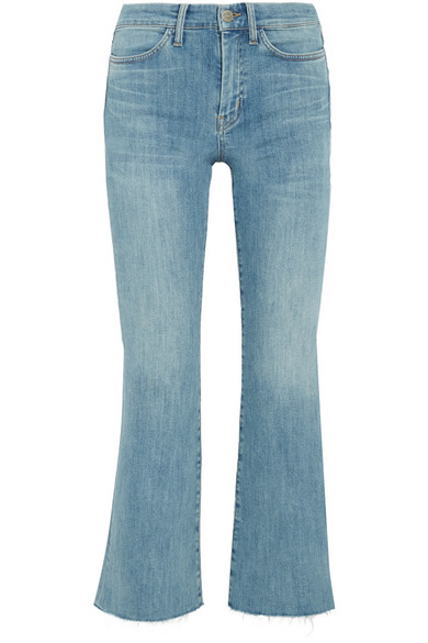 M.i.h Jeans - Lou Cropped Embroidered High-rise Flared Jeans - Mid denim