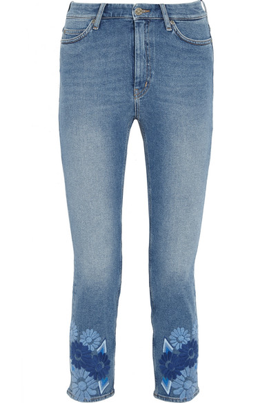 M.i.h Jeans - Niki Cropped Embroidered Mid-rise Skinny Jeans - Mid denim