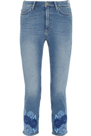 Niki cropped embroidered mid-rise skinny jeans