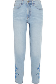 Linda cropped embroidered high-rise straight-leg jeans