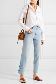 M.i.h Jeans Linda cropped embroidered high-rise straight-leg jeans