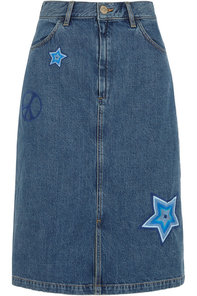 M.i.h Jeans - Parra Embroidered Denim Skirt - Mid denim