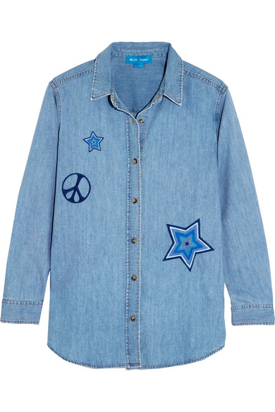 M.i.h Jeans - Embroidered Denim Shirt - Mid denim