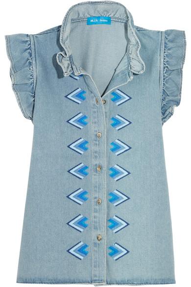 M.i.h Jeans - Hillsea Ruffled Embroidered Denim Top - Light denim