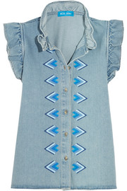 Hillsea ruffled embroidered denim top