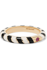 Candy 14-karat gold, enamel and ruby ring
