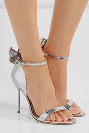 Maya bow-embellished metallic leather sandals