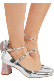 Sophia Webster Lilia bow-embellished mirrored-leather Mary Jane  pumps