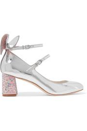 Lilia bow-embellished mirrored-leather Mary Jane  pumps