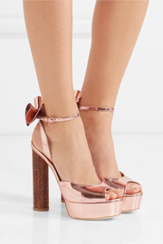 Sophia Webster Raye bow-embellished metallic leather platform sandals