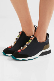 Fendi Embellished suede and lizard-effect leather-trimmed neoprene sneakers