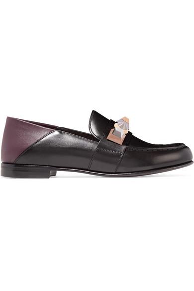 Fendi - Embellished Leather Loafers - Black