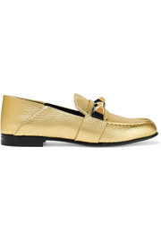 Fendi Studded metallic textured-leather loafers
