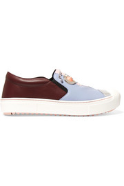 Fendi Face embellished leather slip-on sneakers