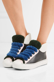 Fflynn shearling-trimmed leather sneakers