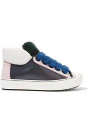 Fendi Fflynn shearling-trimmed leather sneakers