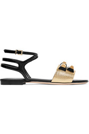 Fendi Rainbow embellished metallic and patent-leather sandals