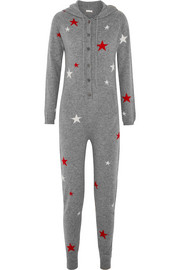 Hooded star-intarsia cashmere jumpsuit