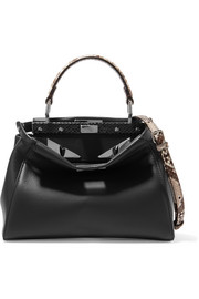 Fendi Peekaboo mini python-trimmed leather shoulder bag