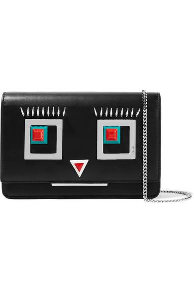 fendi female fendi embellished leather shoulder bag black