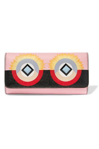 Fendi - Embellished Printed Textured-leather Wallet - Pink