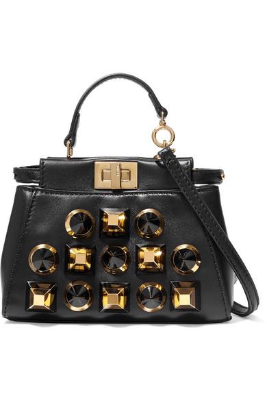 fendi female fendi peekaboo micro studded leather shoulder bag black