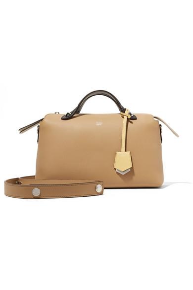 fendi female fendi by the way colorblock leather shoulder bag beige