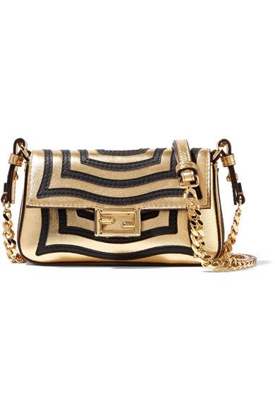 fendi female fendi baguette micro appliqued metallic texturedleather shoulder bag gold