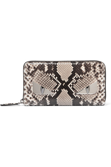 fendi female fendi monster eyes python continental wallet snake print