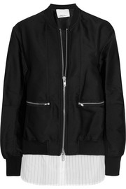 Poplin-paneled satin-twill bomber jacket