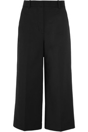 Cropped stretch cotton-blend wide-leg pants
