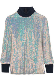 Jersey-trimmed sequined silk turtleneck top