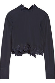 Asymmetric embroidered cotton-poplin top