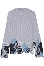 3.1 Phillip Lim Guipure lace-trimmed mélange wool-blend sweater