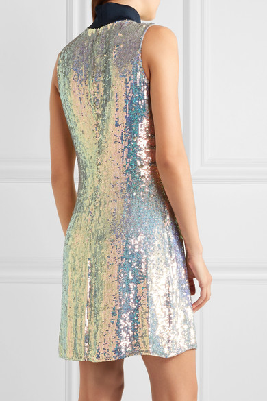 3.1 Phillip Lim  Jersey-trimmed sequined silk turtleneck dress ...