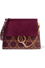 Faye medium studded leather and suede shoulder bag