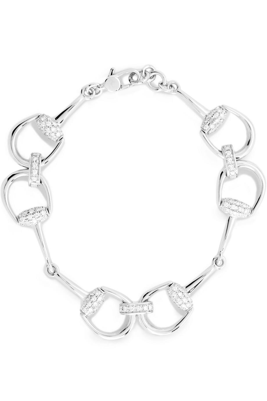 Gucci 18-Karat White Gold Diamond Horsebit Bracelet, Women's
