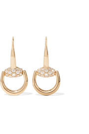 Gucci 18-karat gold diamond horsebit earrings
