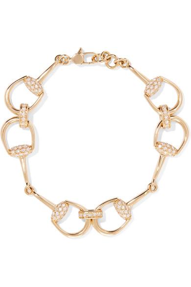 gucci female gucci 18karat gold diamond horsebit bracelet one size