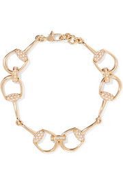 Gucci 18-karat gold diamond horsebit bracelet
