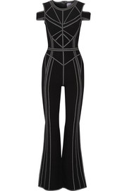 Izabella metallic stretch jacquard-knit jumpsuit