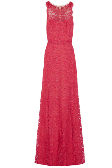 Marchesa Notte - Tulle-paneled Metallic Guipure Lace Gown - Fuchsia