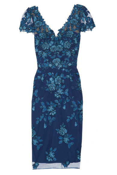 Marchesa Notte - Sequin-embellished Embroidered Tulle Dress - Navy