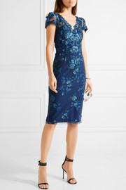 Marchesa Notte Sequin-embellished embroidered tulle dress